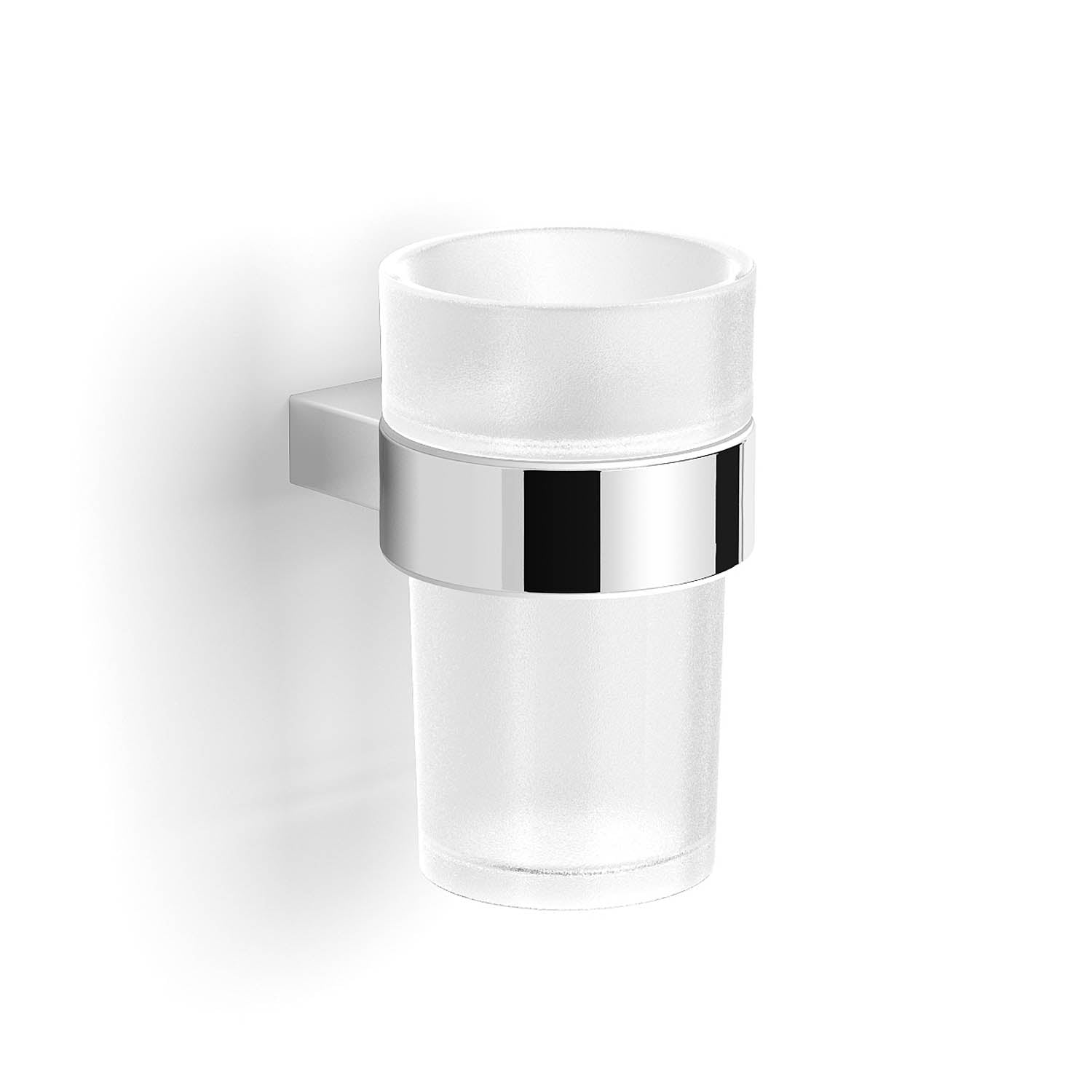Modale Wall Tumbler with a cloudy glass holder and chrome finish bracket on a white background