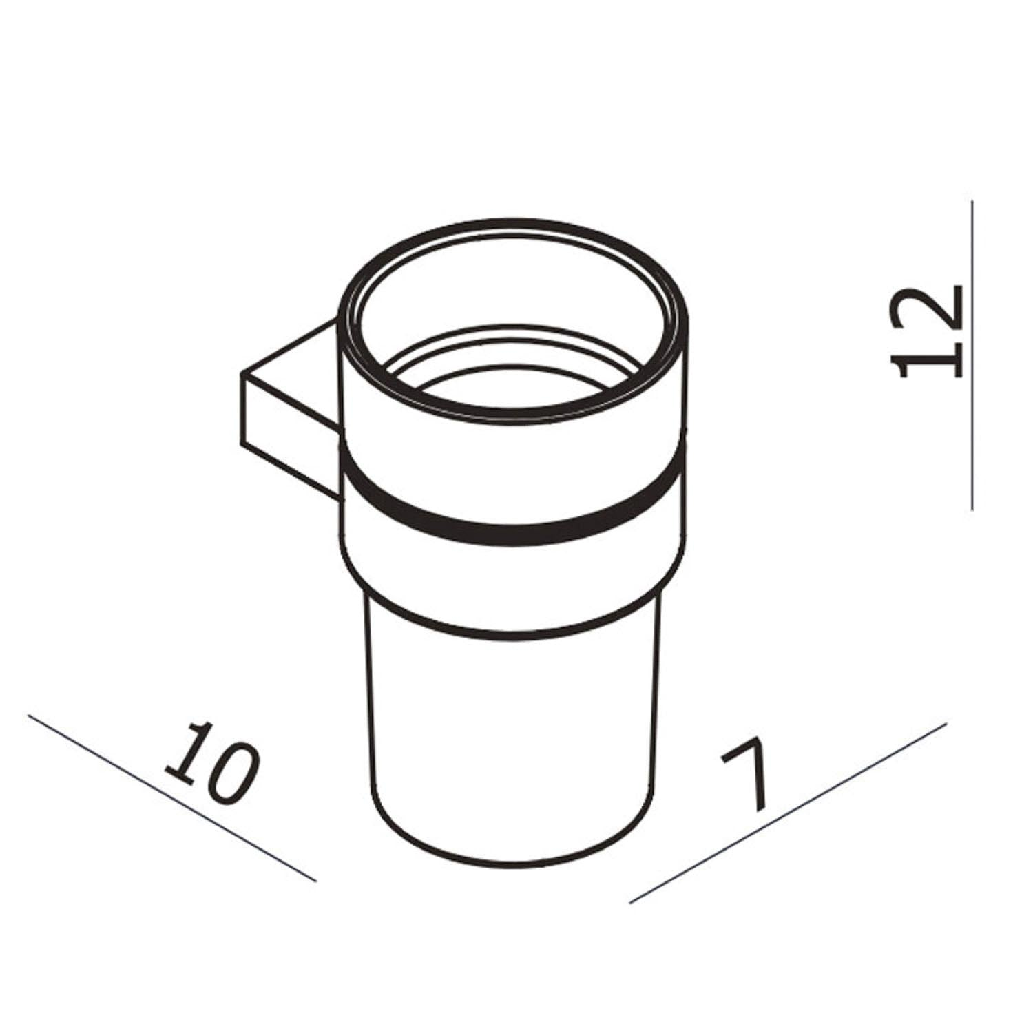 Modale Wall Tumbler with a cloudy glass holder and chrome finish bracket dimensional drawing