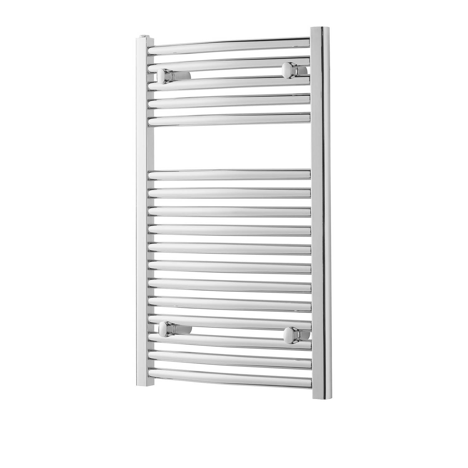 800x500mm Modale Anti-Scald Towel Rail with a chrome finish on a white background
