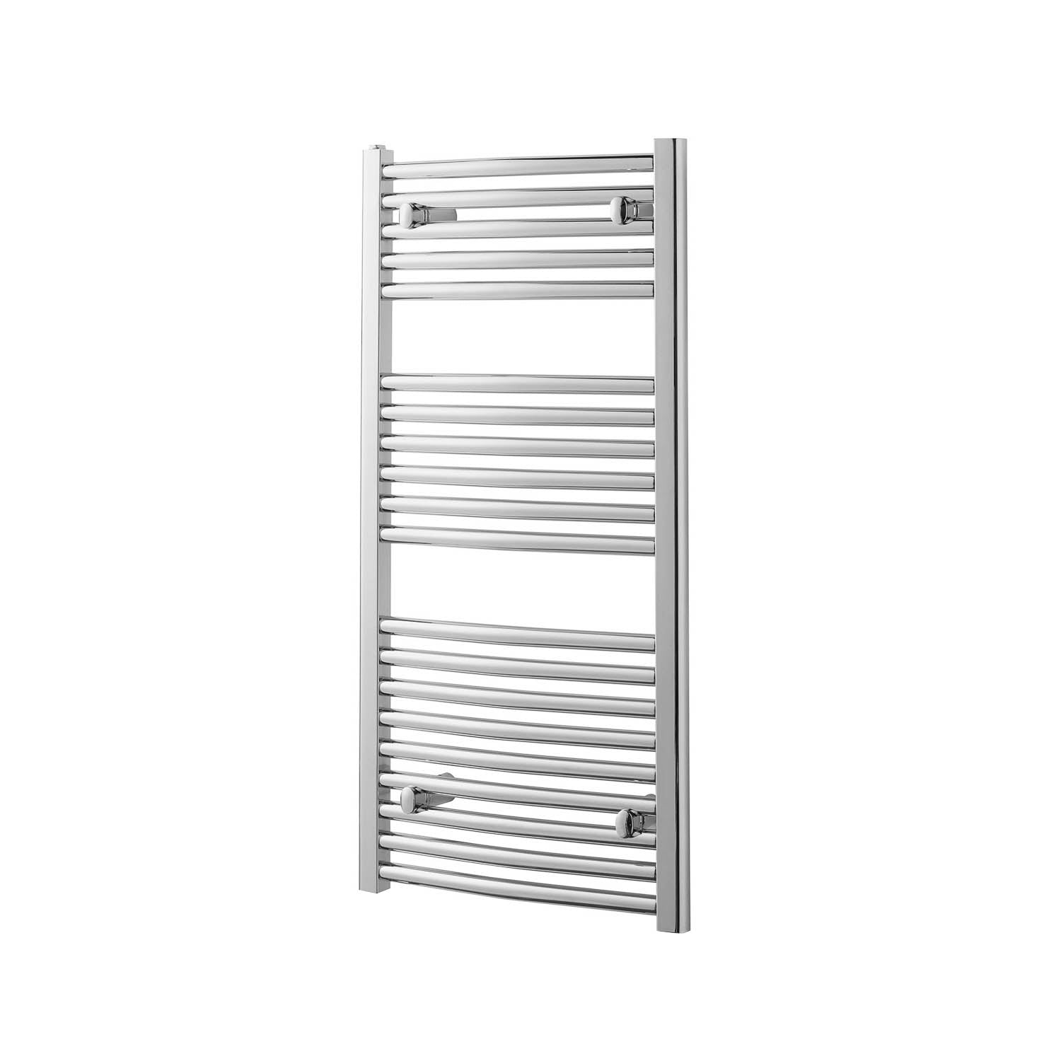 1200x500mm Modale Anti-Scald Towel Rail with a chrome finish on a white background