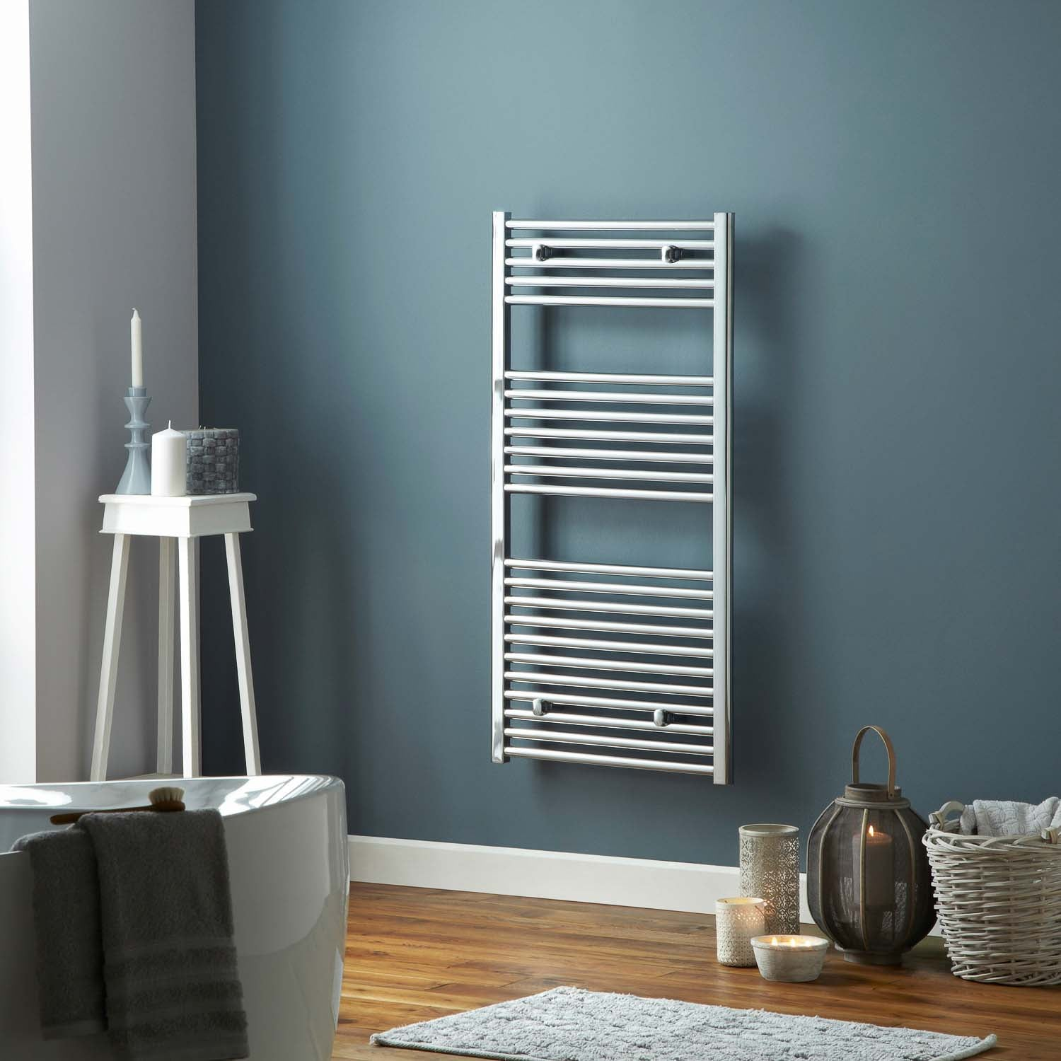 1600x500mm Modale Anti-Scald Towel Rail with a chrome finish lifestyle image
