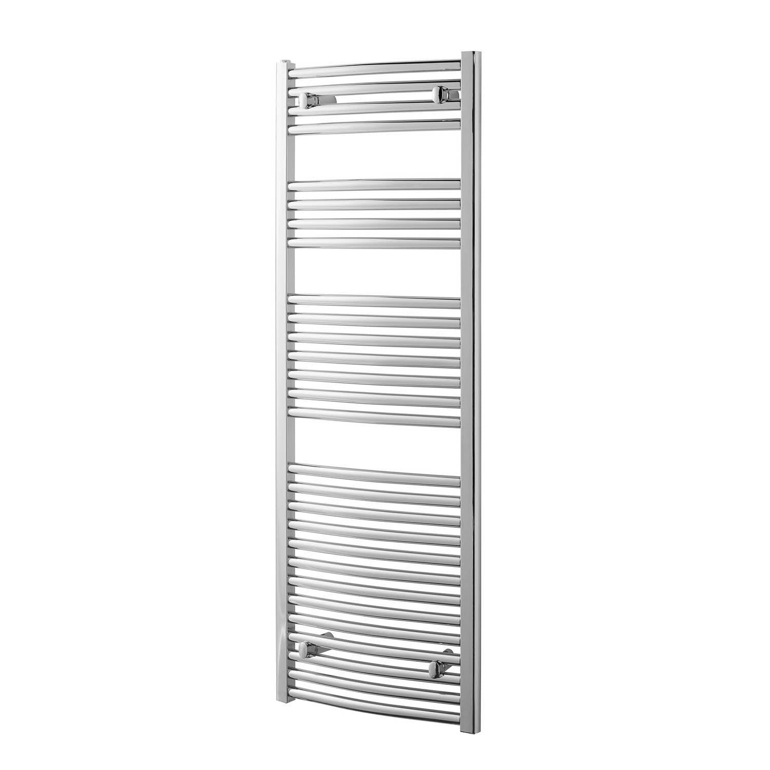 1600x500mm Modale Anti-Scald Towel Rail with a chrome finish on a white background