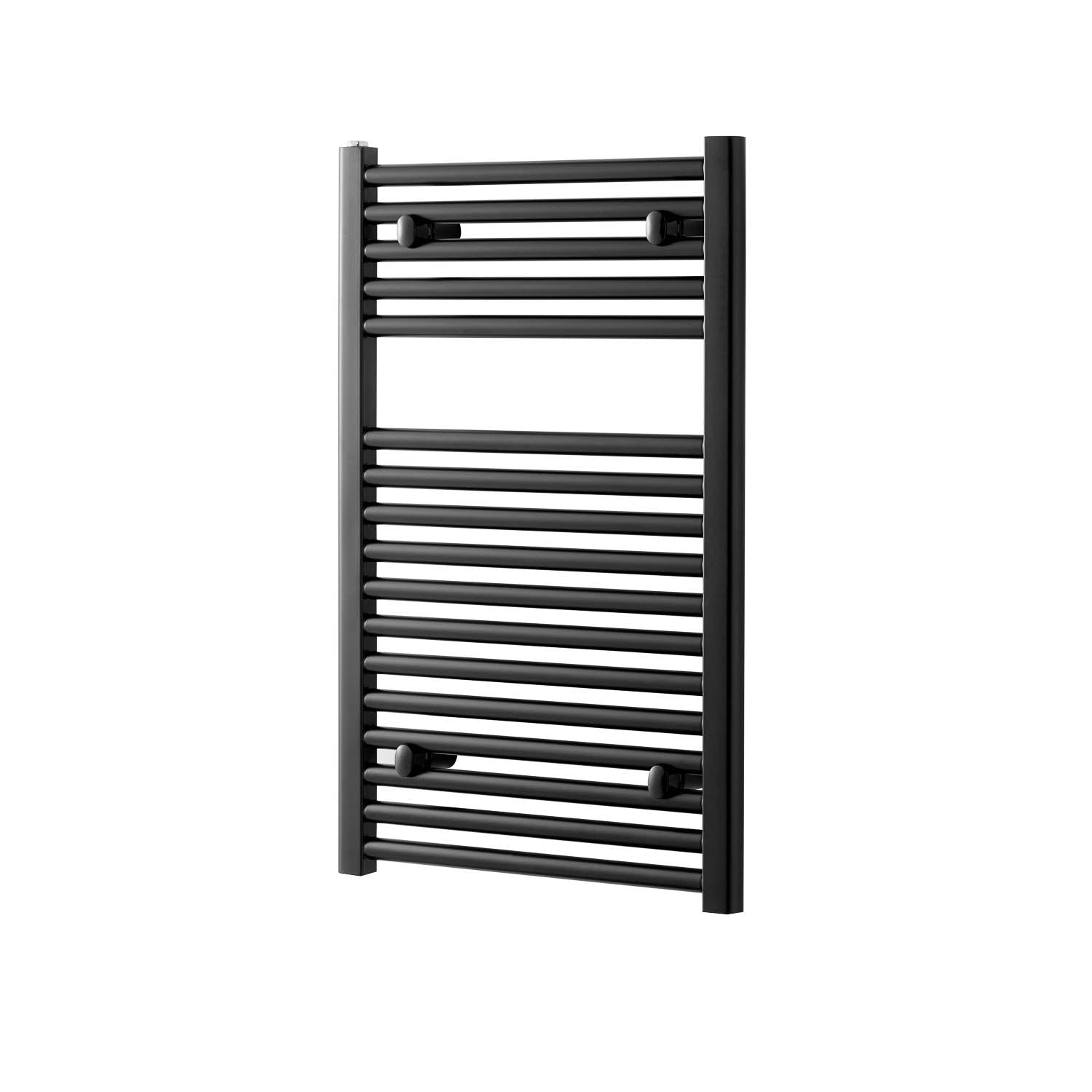 800x500mm Modale Anti-Scald Towel Rail with a matt black finish on a white background