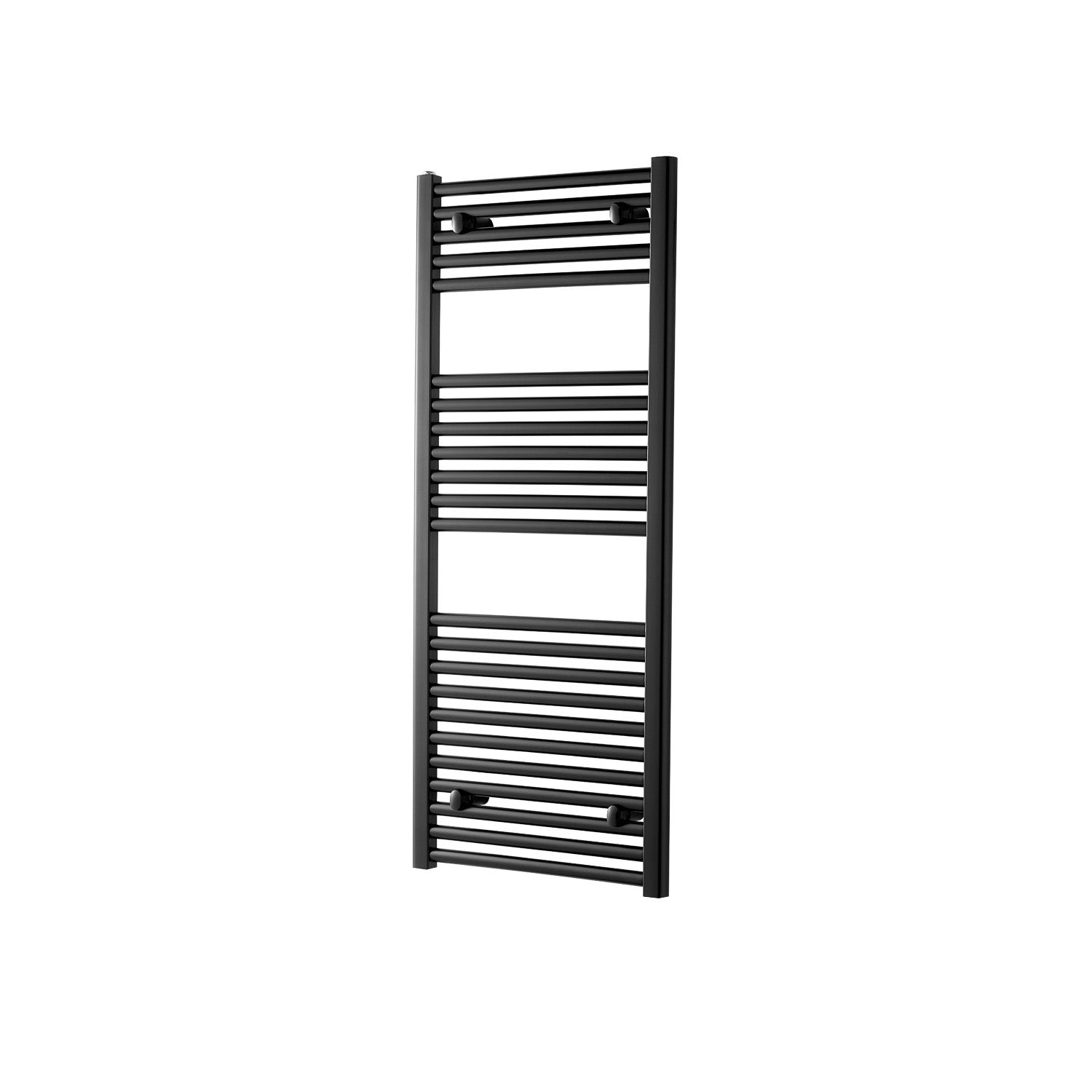 1200x500mm Modale Anti-Scald Towel Rail with a matt black finish on a white background