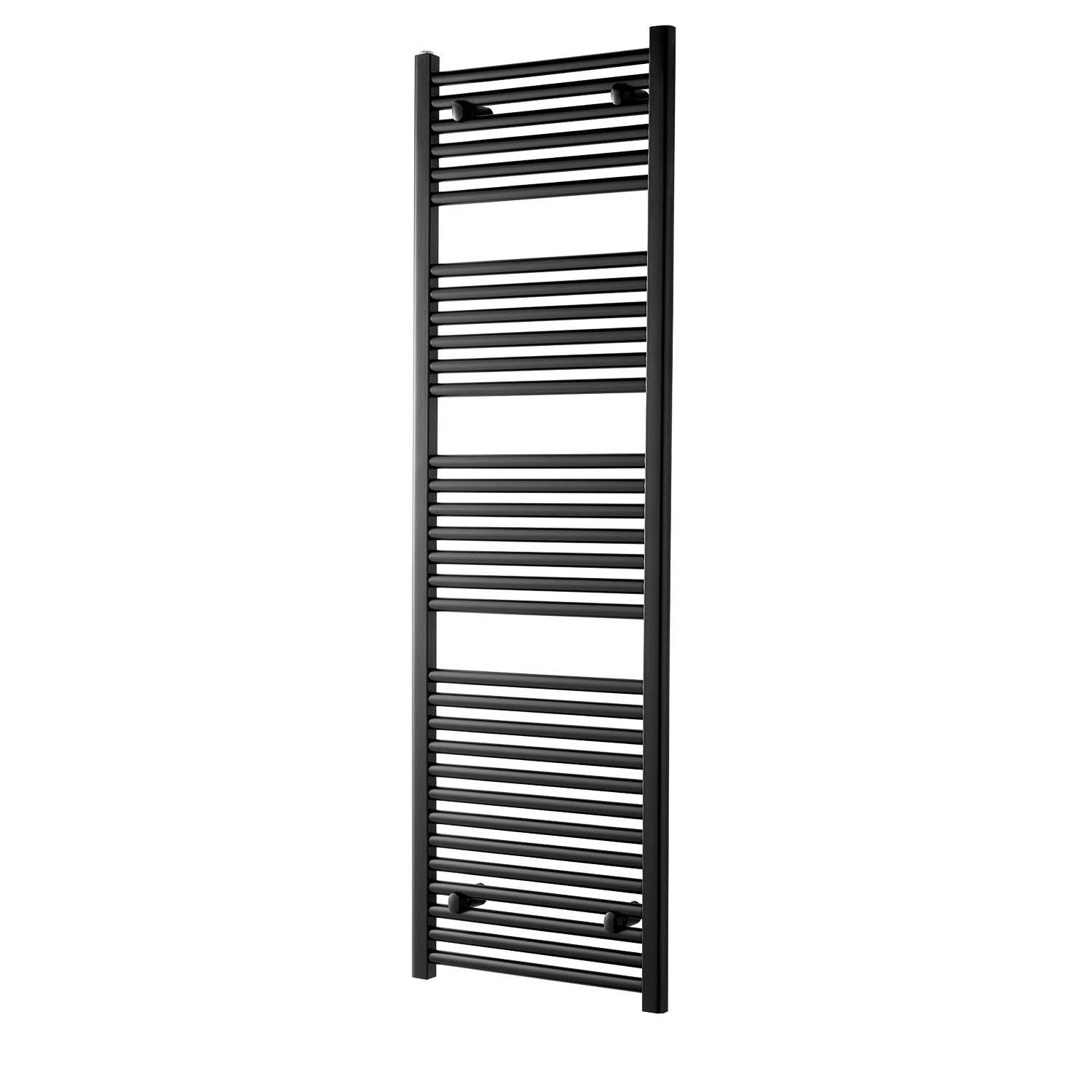 1600x500mm Modale Anti-Scald Towel Rail with a matt black finish on a white background