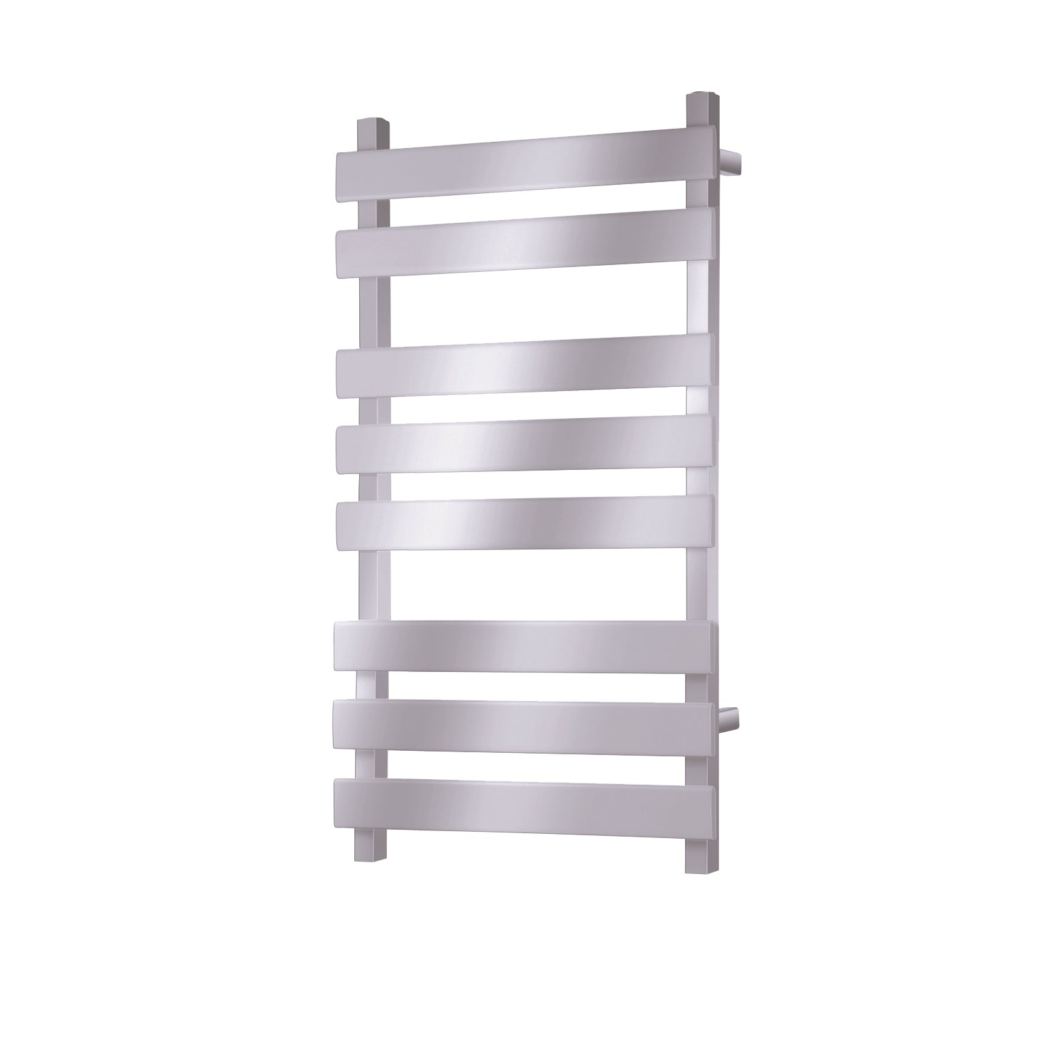 800x500mm Consilio Anti-Scald Towel Rail with a chrome finish on a white background