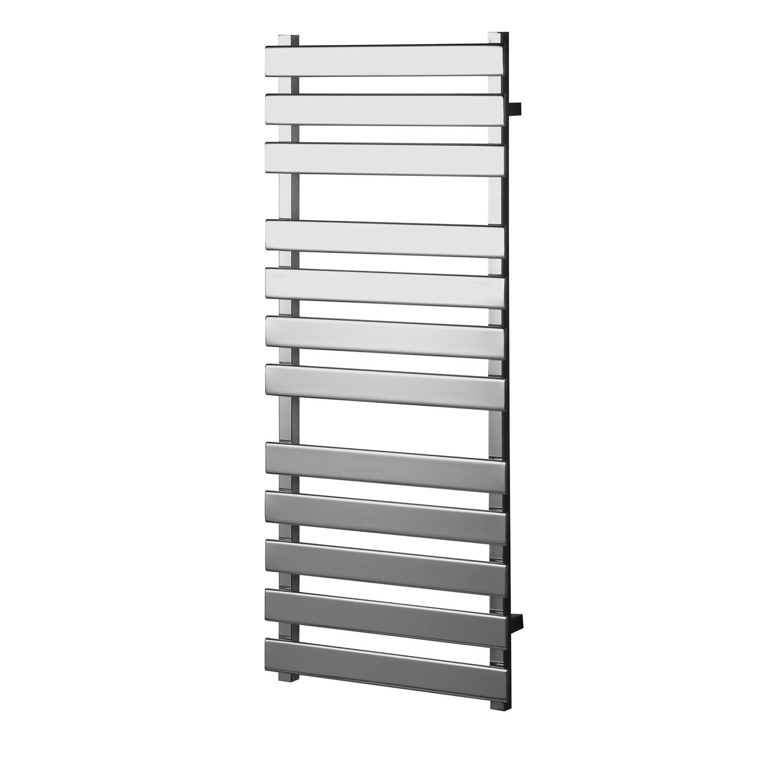 1200x500mm Consilio Anti-Scald Towel Rail with a chrome finish on a white background