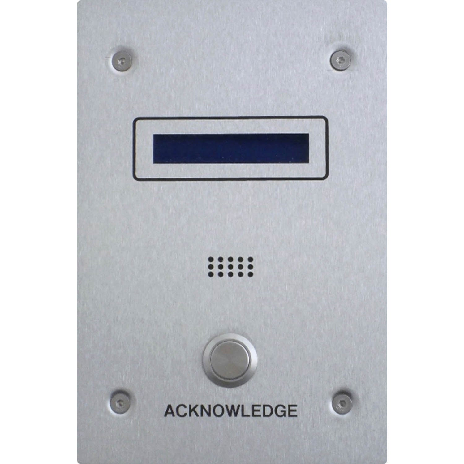 Stainless Steel Spot Alarm LCD Acknowledge Panel on a white background