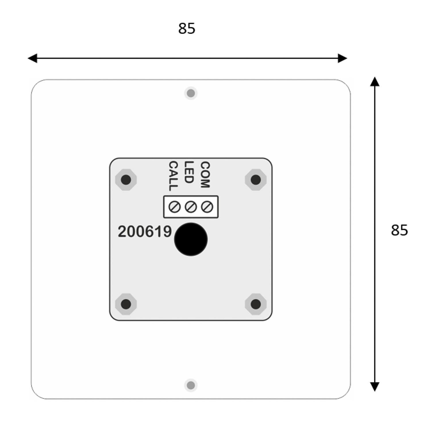 Stainless Steel Spot Alarm Push Call Button dimensional drawing