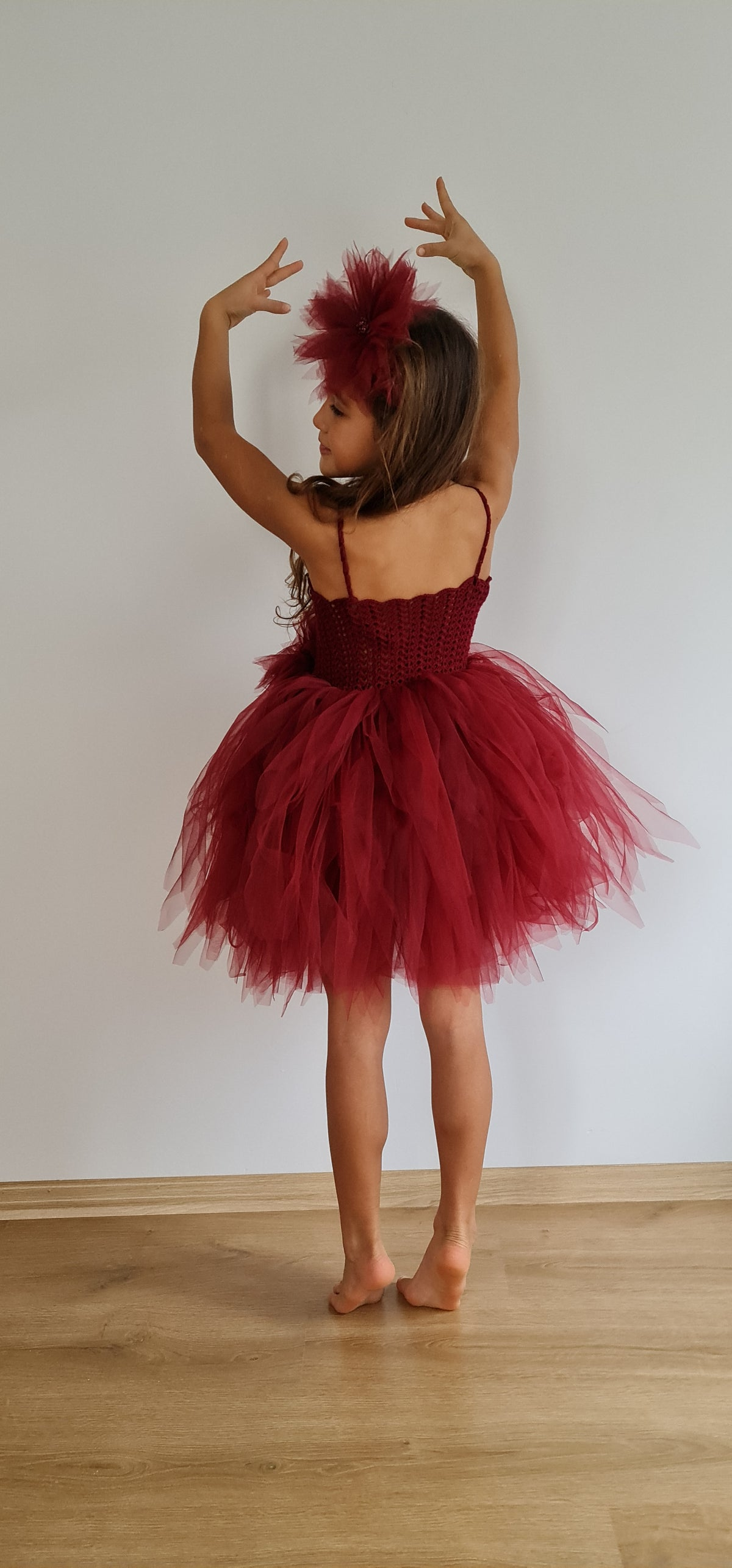 Burgundy Tutu Dress with crochet top and puffy tulle bottom