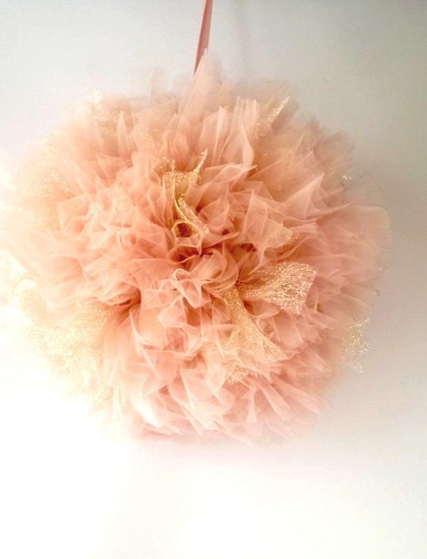 Tulle pom pom - Blush Pink and Gold