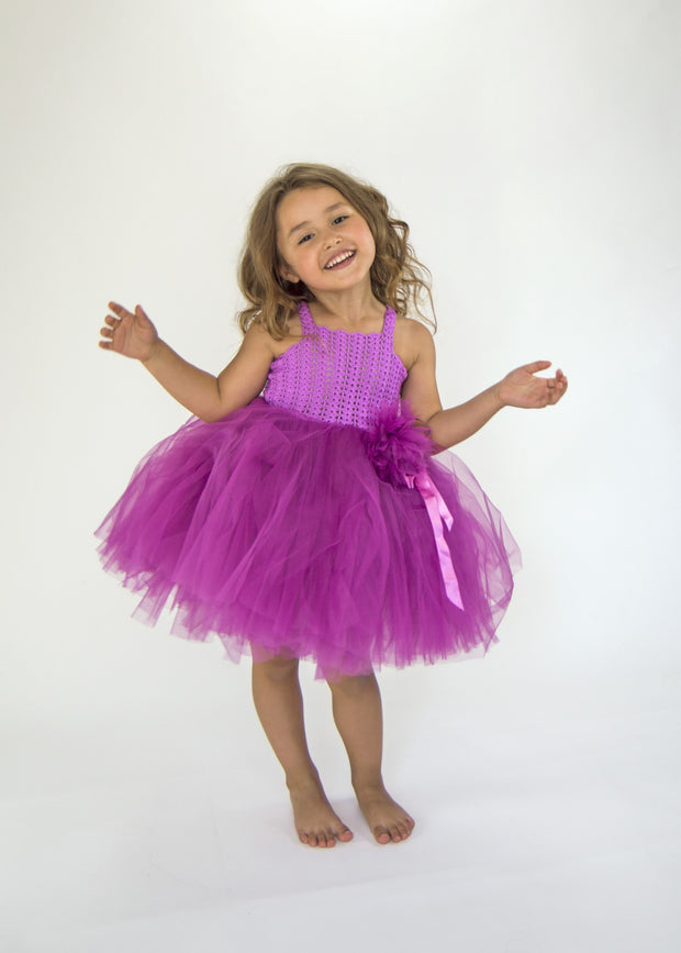 Tutu Dress with Stretch Crochet  Bustier - Bright Purple