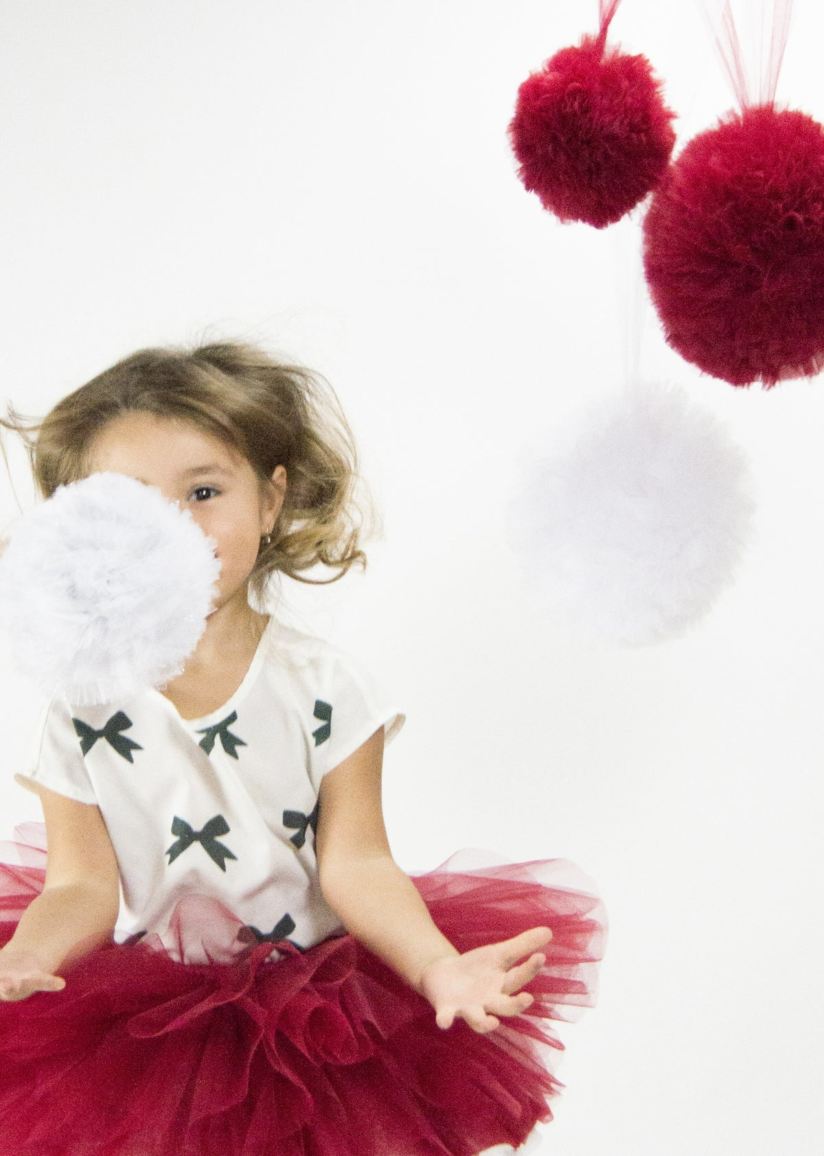 Tulle pom pom - Dark Red
