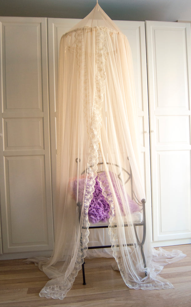 Bed Canopy, Crib canopy, Nursery Baldachin -  Cream with cream lace trim