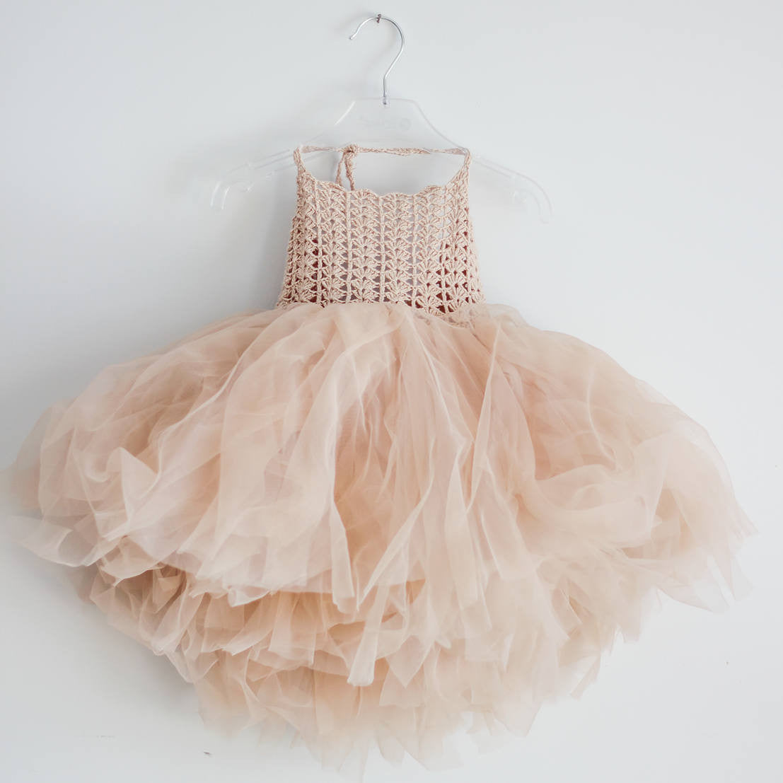 Halter Tutu Dress with Stretch Crochet  Bustier - Beige