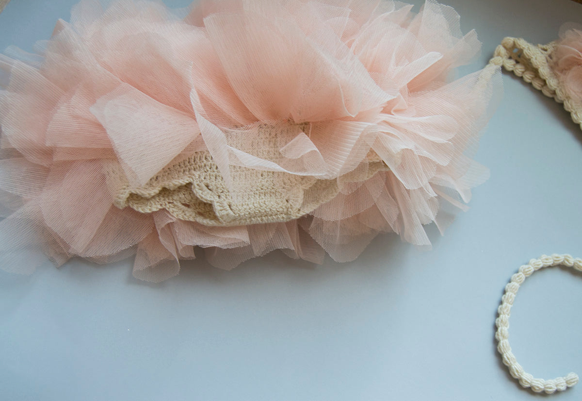 Softest Baby  Tutu Diaper Cover  and Bonnet set - Cream and Peach