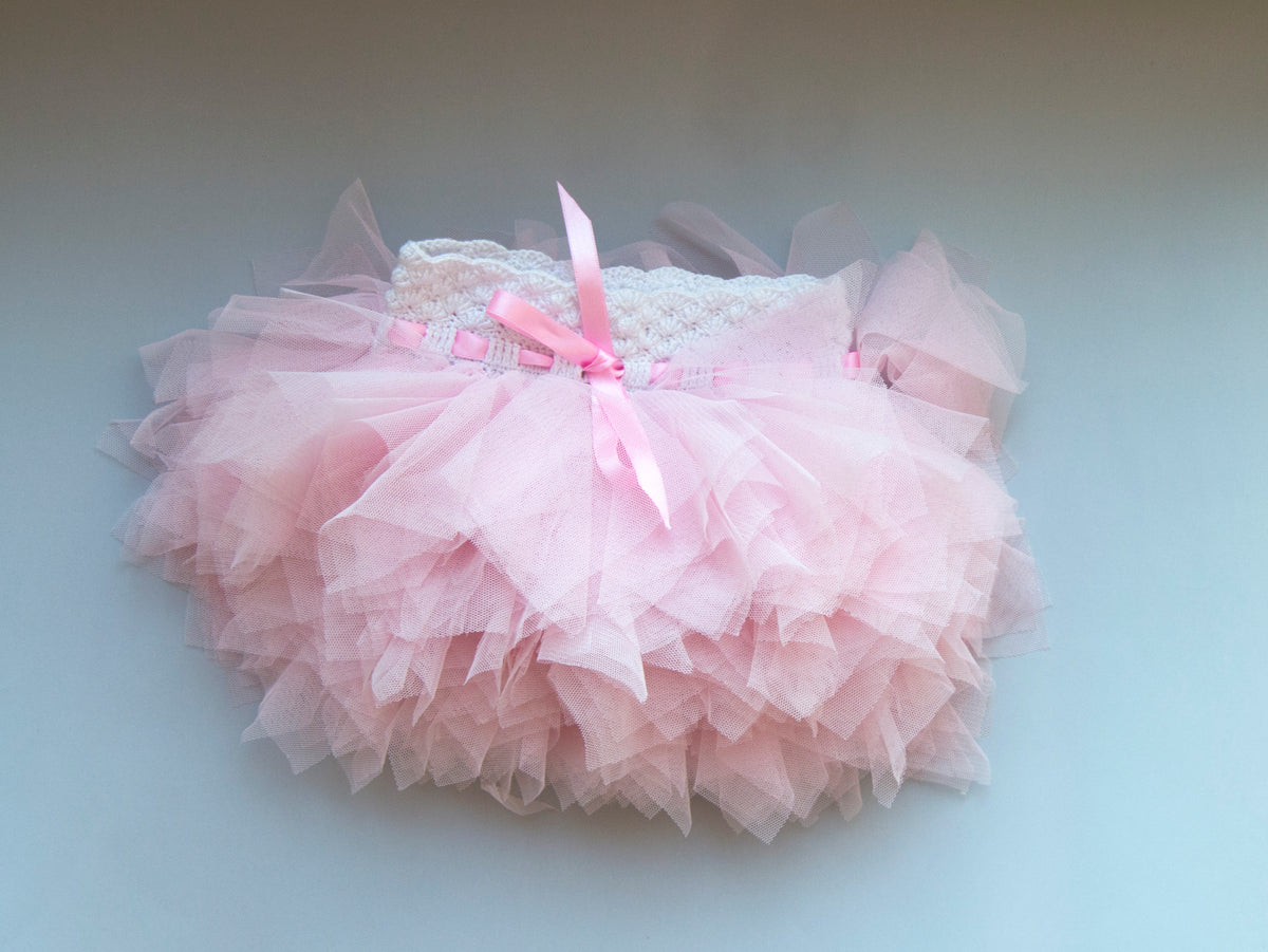 Softest Baby  Tutu Skirt with Stretch Crochet Waistband - White and Light Pink
