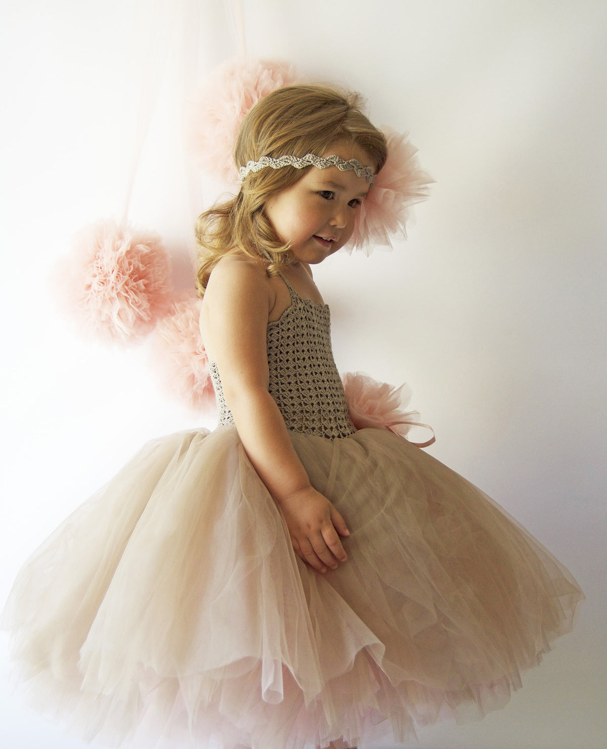Double Layered Puffy Tutu Dress with Stretch Crochet Bustier - Taupe and Pale Blush Pink