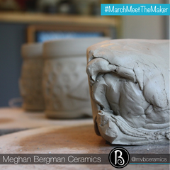 Wedged Clay in Pottery Studio | Handmade Pottery & Ceramics Inspired by Nature | Meghan Bergman Ceramics | Kennett Square, PA | Meet The Maker Series