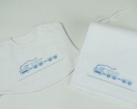 Blue Choo Choo - Bib & Nappie Set
