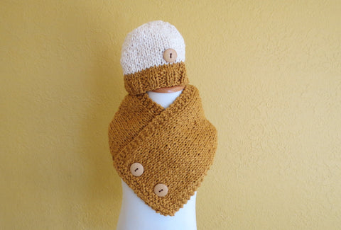 Organic Double Breasted Scarf & Beanie Set