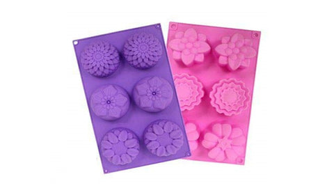 Silicone 6 Cavity Mixed Flower Cupcake Baking Muffin Candle Soap Mould