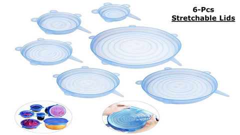 Silicone Reusable Stretch Lids (Pack of 6 pcs)