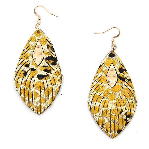 Gold Detail Leather Fringe Earrings