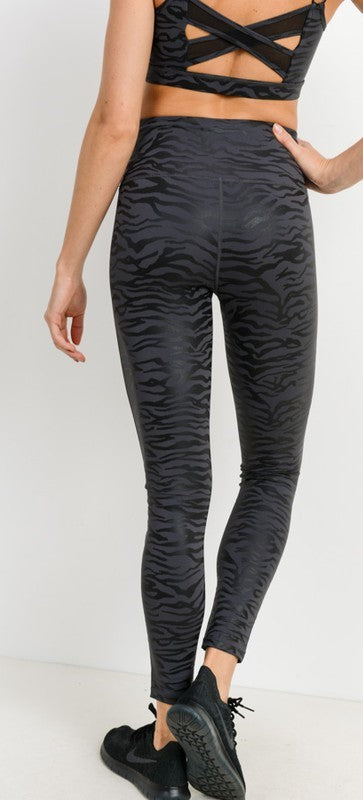 Black Tiger Foil High Waist Leggings