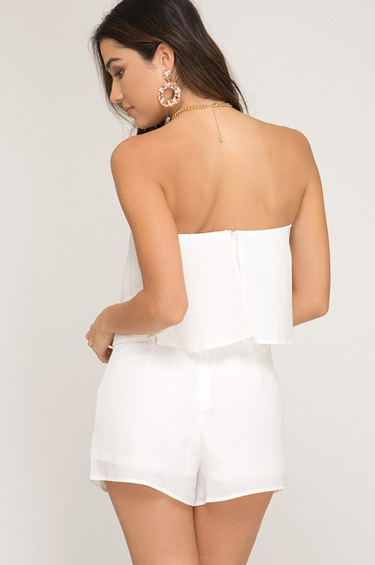 Bright Days Ahead White Strapless Romper