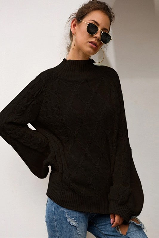 Black Bubble Sleeve Mock Neck Top