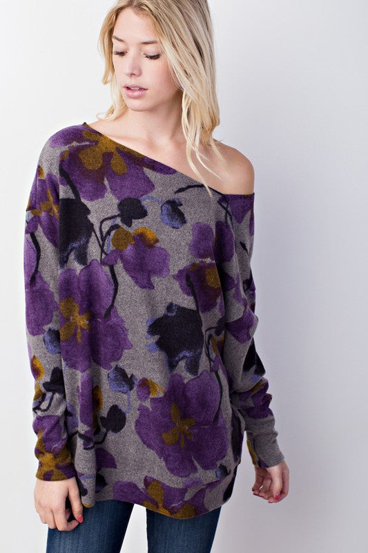 Purple Passion Floral Fleece Diagonal Cut Top