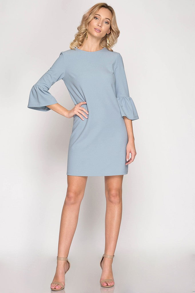 Baby Blue Ruffle Sleeve Shift Dress