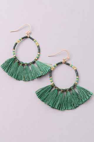 Emerald Multi Tassel Earrings