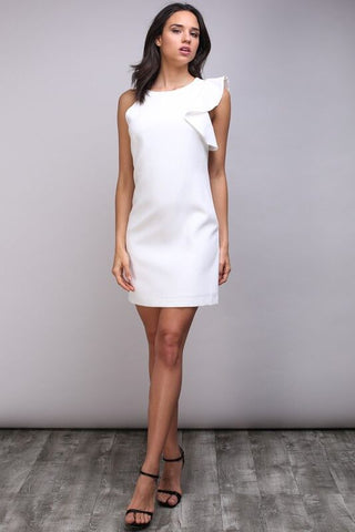 9d892426f6 Pucker Up White One Shoulder Ruffle Dress – Hazel and Bliss Boutique