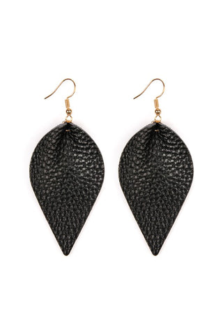 Black Mini Teardrop Leather Earrings