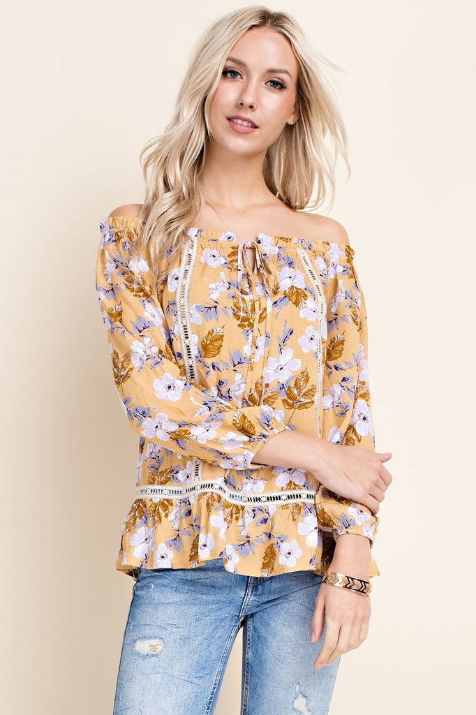 Golden Floral Off the Shoulder Top
