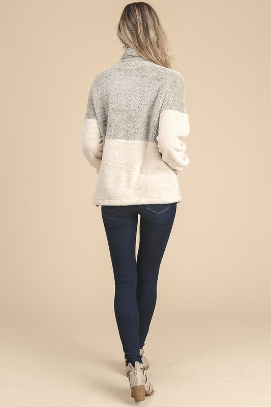 Two Tone Taupe/Cream Fuzzy Zip Up Top