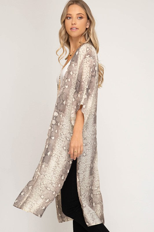 Shining in Snake Print Taupe Duster