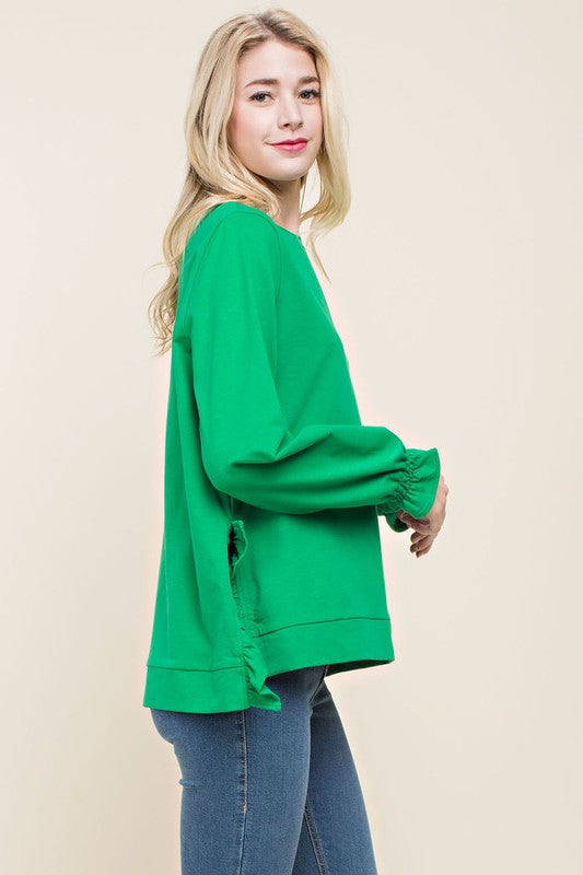 Frilly Detail Emerald Top