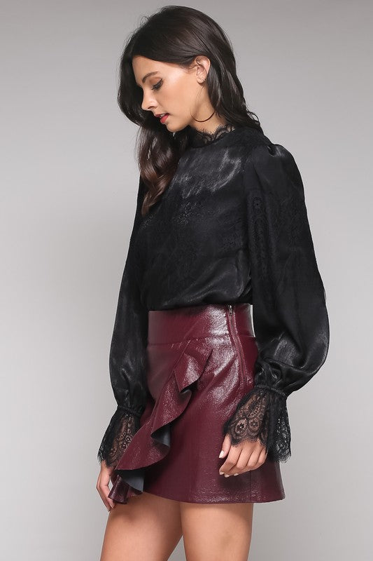 Black Lace Mock Neck Ruffle Sleeve Top