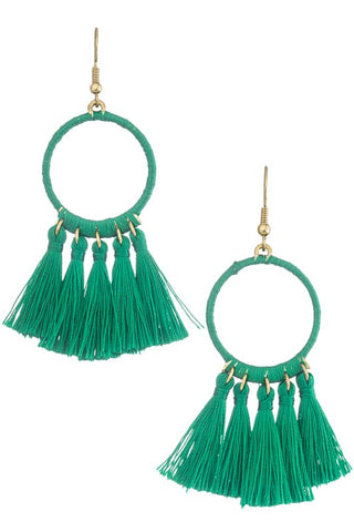 Geo Drop Tassel Earrings