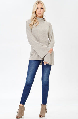 Taupe Mock Neck Flare Sleeve Top