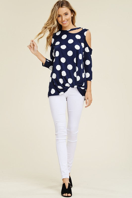 Navy Dots Cold Shoulder Top