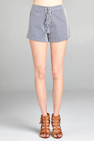 Laces and Stripes Navy Shorts