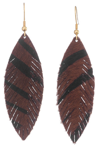Genuine Leather Tiger Feather Earrings