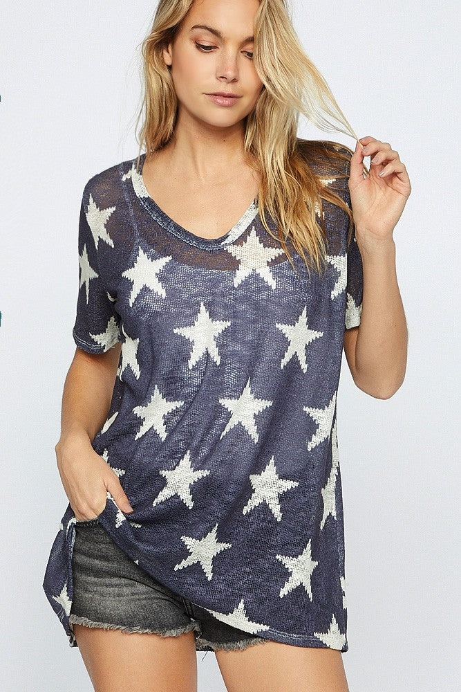 Navy Oh My Stars Knit Top
