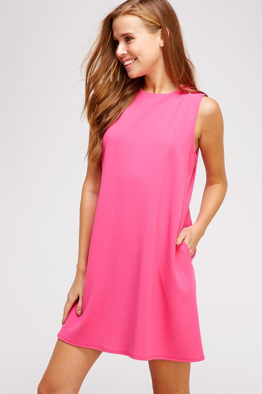Hot Pink Swing Dress with Pockets