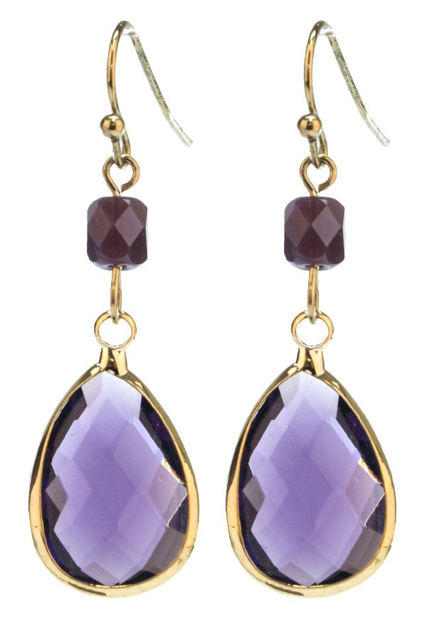Purple Double Beaded Drop Earrings