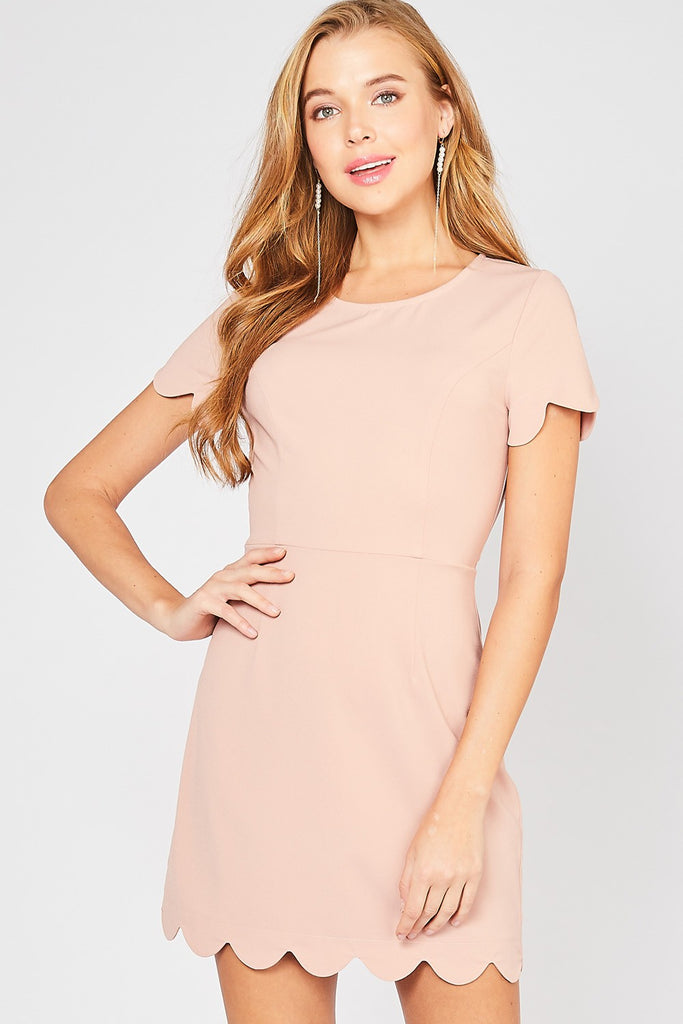 Blush Scalloped Edge Dress